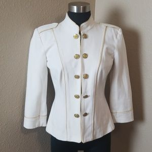 Cache Military Ivory Gold Lined Jacket 6